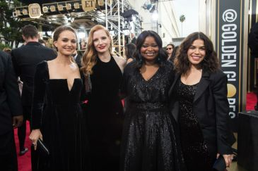 """Natalie Portman, Jessica Chastain, nominated for BEST PERFORMANCE BY AN ACTRESS IN A MOTION PICTURE – DRAMA for her role in """"Molly's Game,"""" Octavia Spencer, nominated for BEST PERFORMANCE BY AN ACTRESS IN A SUPPORTING ROLE IN A MOTION PICTURE for her role in """"The Shape of Water,"""" and America Ferrera arrive at the 75th Annual Golden Globe Awards at the Beverly Hilton in Beverly Hills, CA on Sunday, January 7, 2018."""