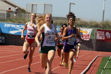 Michelle Chandler of Cal Poly Pomona wins Heat 3 of the women's open 800 meters on Day 2 of the 2018 Mt. SAC Relays. Photo by Dennis J. Freeman for News4usonline