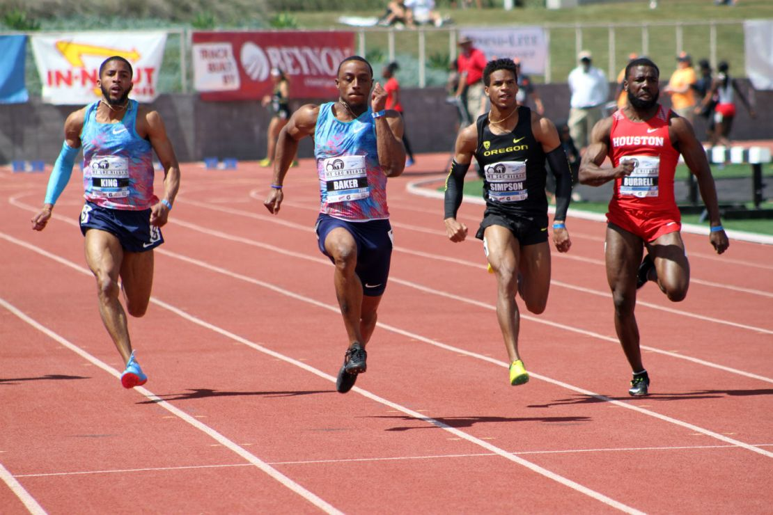 USA Track and Field star Ronnie Baker hits the high note on his way to a 9.97 clocking in the men's invitational 100 meters at the 2018 Mt. SAC Relays on Saturday, April 21, 2018. Photo by Dennis J. Freeman for News4usonline