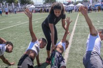 Several hundred youths attended the 2018 Hayes Pullard Football Camp in South Los Angeles. Pullard, currently a linebacker for the Los Angeles Chargers, attended nearby Crenshaw High School and Southern California (USC) as a collegiate athlete. NFL stars Adoree Jackson (Tennessee Titans) and Marqise Lee (Jacksonville Jaguars) came out to support Pullard. The Los Angeles Lakers Youth Foundation were in the house as well. Photo by Dennis J. Freeman for News4usonline