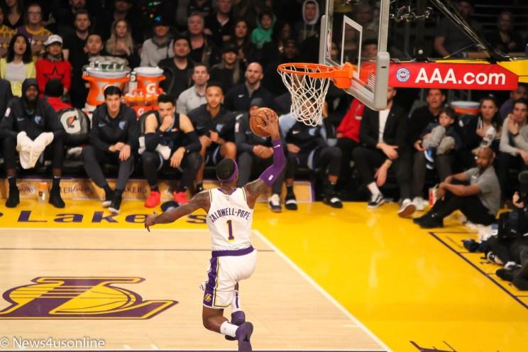 Kentavious Caldwell-Pope streaks to a fastbreak basket against the Memphis Grizzlies.