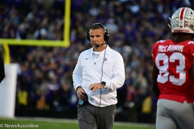 Urban Meyer walking the sidelines during the Rose Bowl Game
