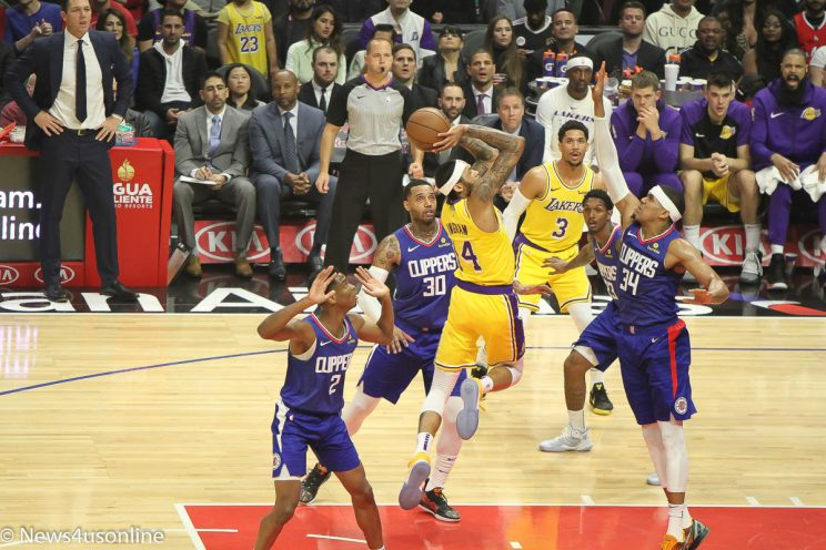 Los Angeles Clippers - Tobias Harris attempts to block Brandon Ingram's shot attempt