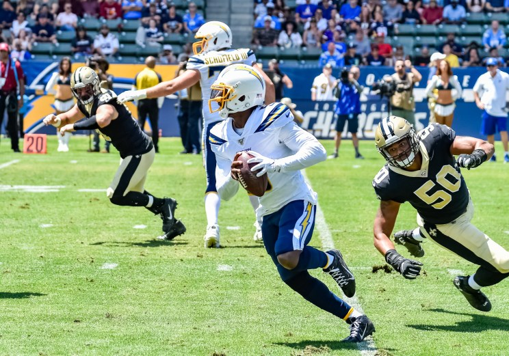 Chargers and Saints in preseason game action