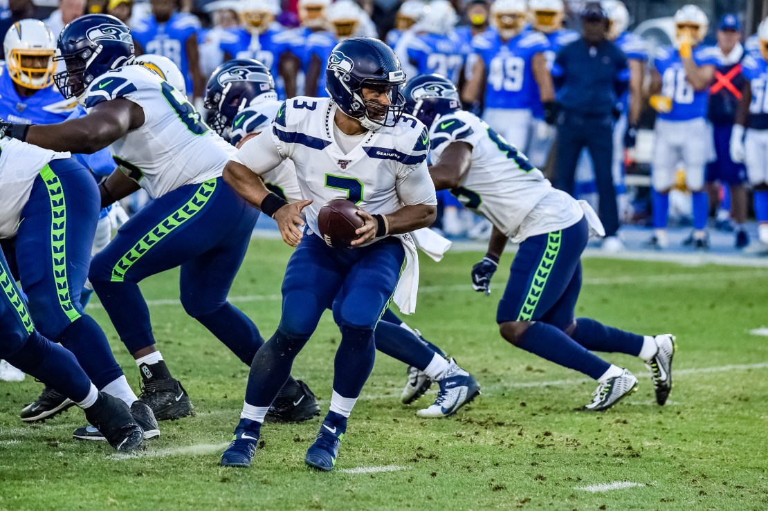 Seattle quarterback Russell Wilson in action against the Los Angeles Chargers