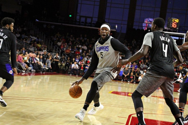Clippers forward Montrezl Harrell driving to the basket in scrimmage