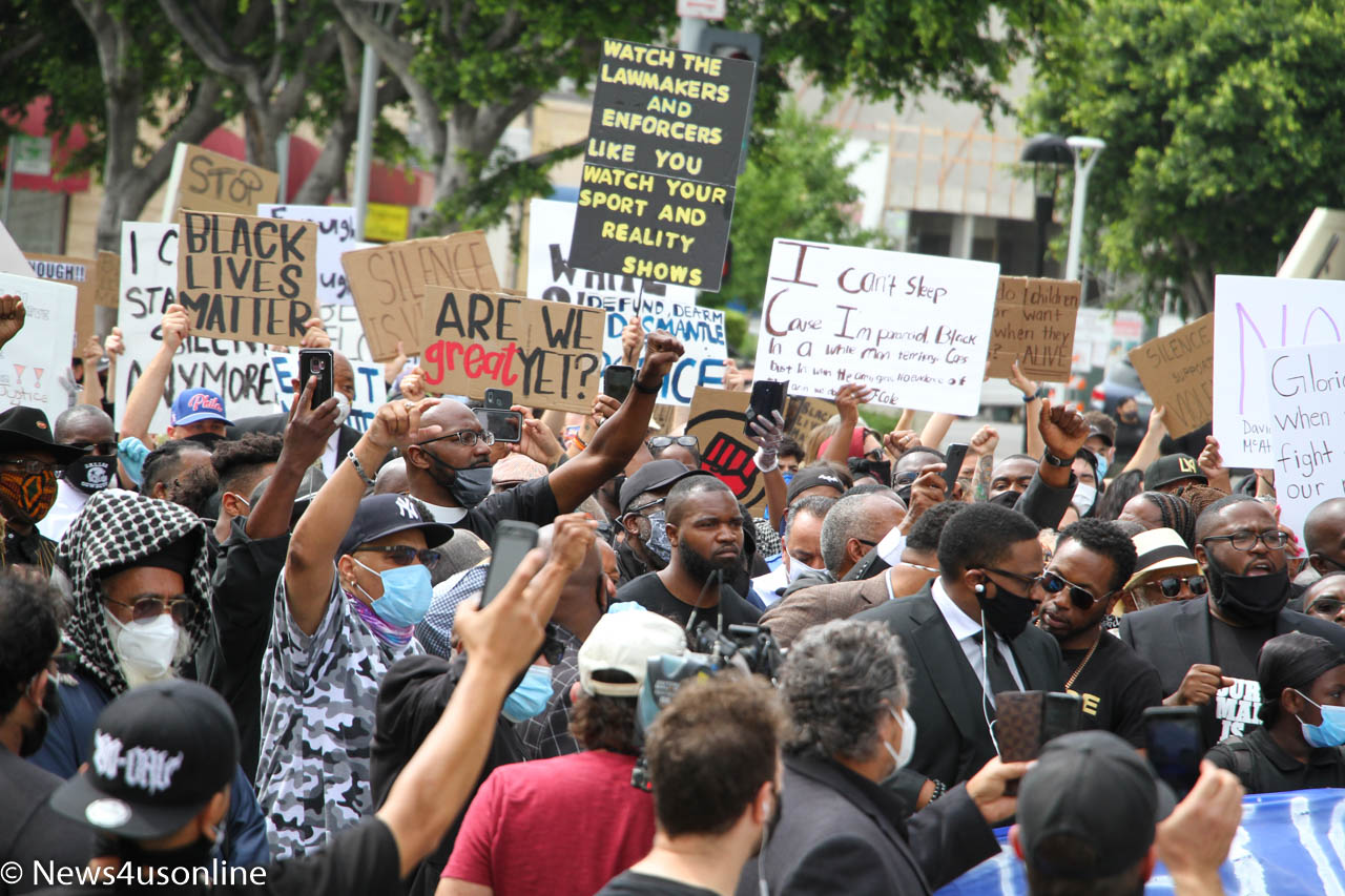 Members of the Baptist Ministers Conference and other demonstrators march down the streets of downtown Los Angeles on June 2, 2020, to protest the killing of George Floyd, who died in police custody. Photo by Dennis J. Freeman