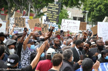 A march and rally in downtown Los Angeles, California on June 2, 2020, was held by the Baptist Ministers Conference. Members of the clergy and the Baptist Ministers Conference came out to protest police brutality and show solidarity behind a Black Lives Matter movement to hold police and law enforcement agencies more accountable for their actions. Demonstrators came out to also protest the death of George Floyd, a 46-year-old Minneapolis man who died in police custody on May 25, 2020. Photo credit: Dennis J. Freeman/News4usonline