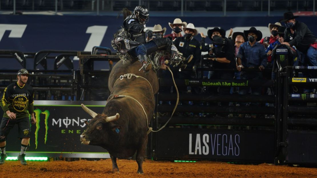 Alex Cardoza, ranked No. 44 in the world, tries to hold on as long as he can on this bull during the 2020 Professional Bull Riders World Finals: Unleash the Beast event in Arlington, Texas. Photo credit: Melinda Meijer for News4usonline