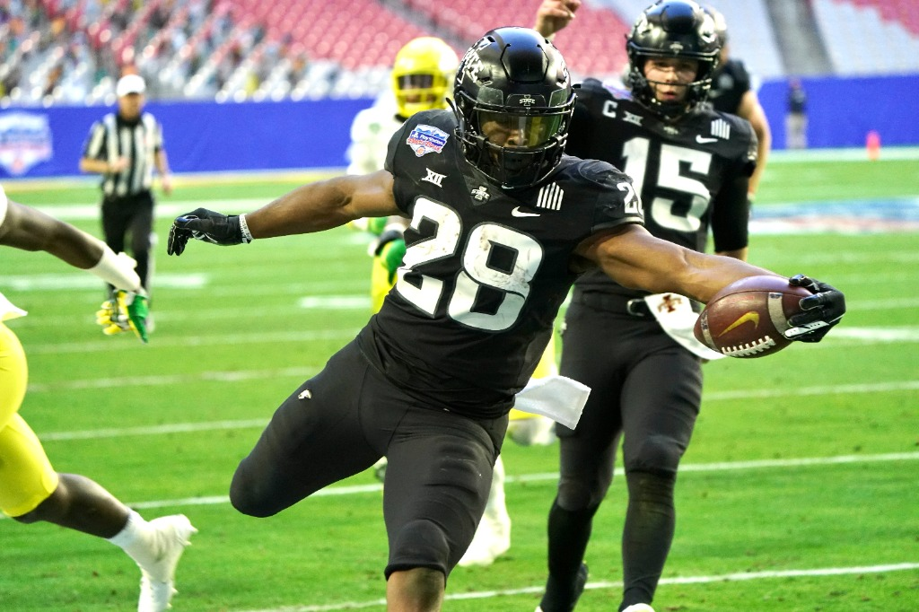 Iowa State running back Breece Hall (28) rushed for 140 yards and two touchdowns in the Cyclones' 34-17 win against the Oregon Ducks in the 2021 PlayStation Fiesta Bowl. Courtesy photo