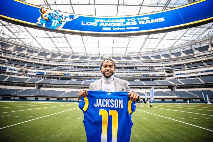 Wide reciever DeSean Jackson shows off his new duds. Jackson was signed in the offseason by the Los Angeles Rams. Photo credit: Los Angeles Rams