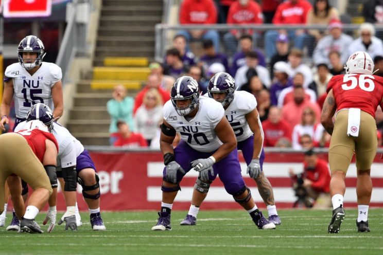 Northwestern offensive tackle Rashawn Slater (70) graded out real high in pre-draft scouting reports. The Los Angeles Chargers made Slater the No. 13 selection in the first round of the 2021 NFL Draft. Photo courtesy of Northwestern University Athletics