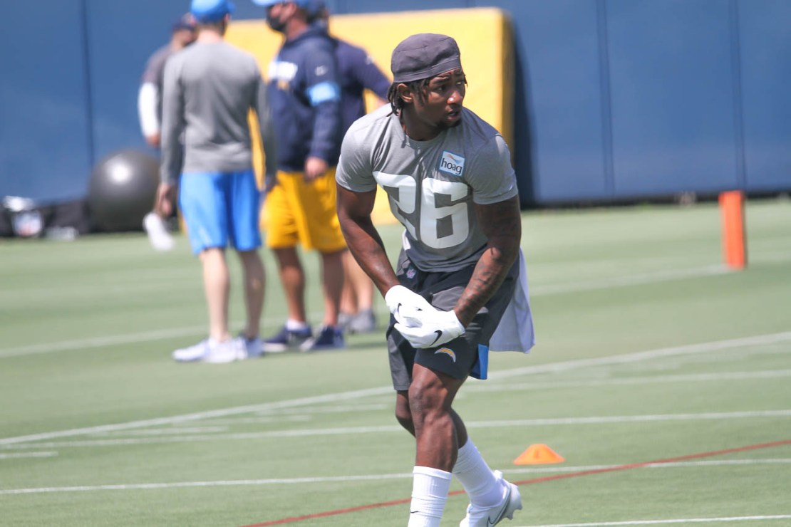 Asante Samuel Jr. (26) on the first day of rookie minicamp. The Los Angeles Chargers selected Samuel with the 47th overall pick in the 2021 NFL Draft. Photo credit: Dennis J. Freeman/News4usonline