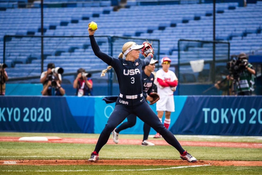 USA versus Japan in softball in Tokyo Olympics