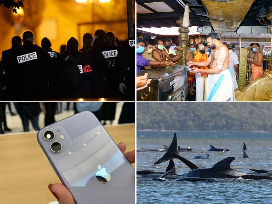News in pictures: French teacher beheading; Iphone sold in a jiffy; 300 million in India to get COVID vaccine; Kerala temple reopens; Justin Bieber releases 'lonely'; Australia-New Zealand air bubble hits snag…