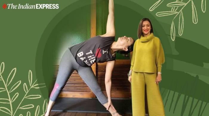 Practice Trikonasana like Gauri Pradhan to reduce stress, increase flexibility