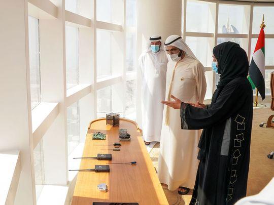 Sheikh Mohammed receives developer of Ghalib Satellite team in Dubai