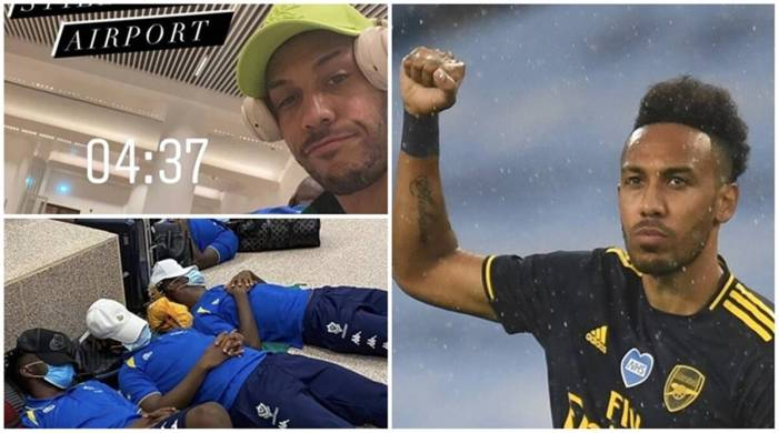 Aubameyang and Gabon team mates forced to sleep on airport floor