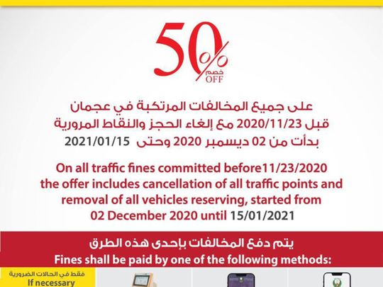 Tomorrow is the final day to take advantage of traffic discount in Ajman