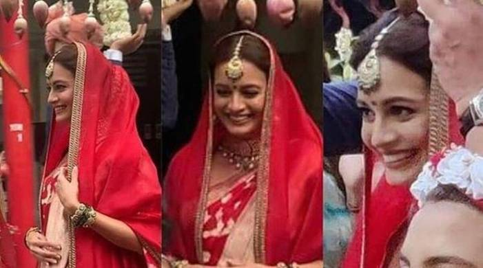 Dia Mirza ties the knot with Vaibhav Rekhi; looks lovely in a red sari