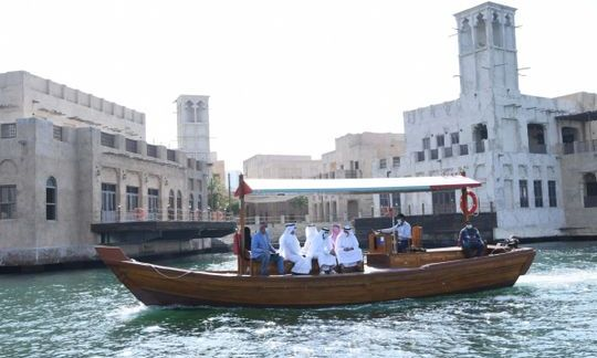 Now, cross Dubai Creek in new traditional wooden abra for Dh2