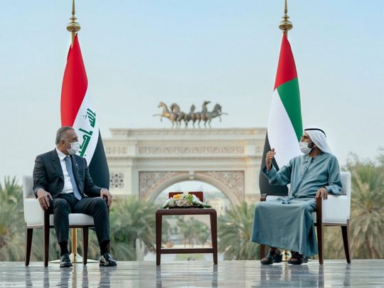 Mohammed Bin Rashid and Mohamed bin Zayed receive Iraqi Prime Minister in UAE