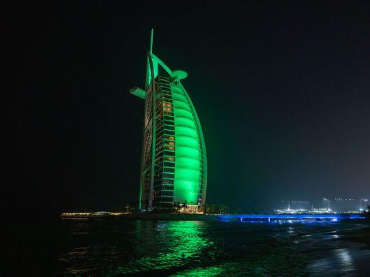 UAE landmarks light up in green