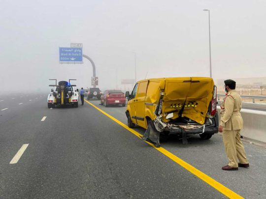 Woman injured in 28-vehicle pileup in Dubai during morning fog