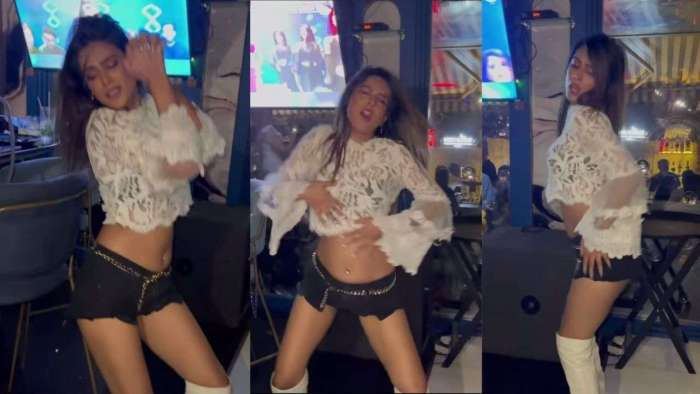 Nia Sharma raises the temperature in a Mumbai bar, grooves to 'Do Ghoont' in lace crop top, hot pants