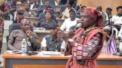 Photo of PHOTOS: Amotekun commander storms Ekiti assembly in 'juju' regalia