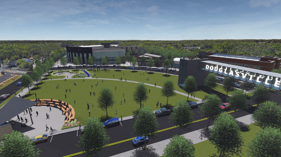 The plan includes replacing the abandoned jail with an area of green space, and an amphitheater. It is important to remember that this is very early in the process and some of the proposals may change over time.