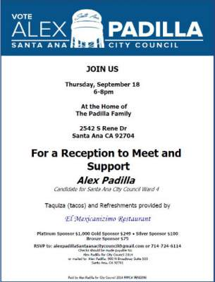 Reception for Alex Padilla