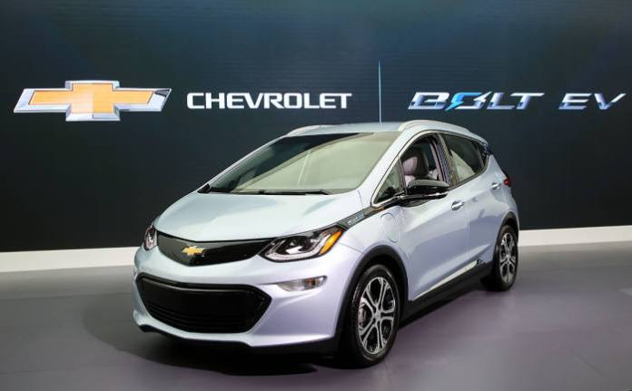Shown above is the Bolt electric vehicle of General Motors. The model's recall weighed on the profitability of LG Electronics in the third quarter. LG assembled battery modules and packs for the vehicles. Photo courtesy of General Motors Korea