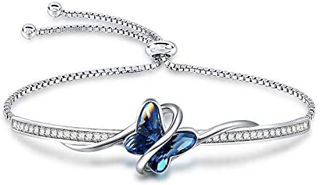 GEORGE · SMITH Women's Silver Bracelets Butterfly Bracelet with Crystal from Austria, Bracelet Gifts for Mum Women Valentine's Mother's Day