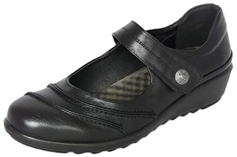 Cushion Walk Womens Ladies EEE Extra Wide Fitting Shoes, Lightweight Black Faux Leather Mary Jane Shoes with Low Wedge Heel, Casual Work Office Nurse Comfort Shoes