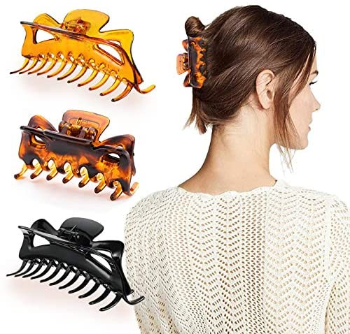 Hair Claw Clips, 3 Pcs Plastic Hair Clamps Large Nonslip Crystal Jumbo Jaw Clip Strong Hold Banana Clip Hairpin Barrette Hair Accessories for Women Girls Thick Fine Hair, Black, Brown, Leopard
