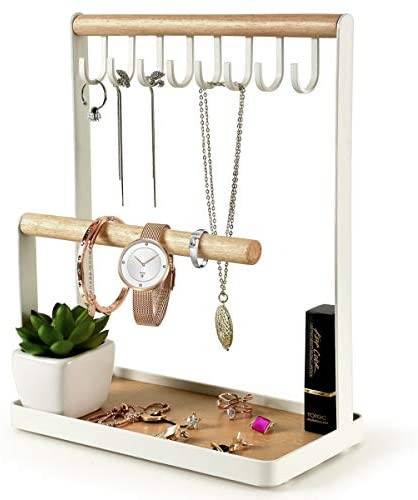 PAMANO Jewelry Stand Holder, Multi Tier Necklace Hanging Wooden Ring Organizer Earring Tray, 8 Hooks Storage Necklaces, Bracelets, Rings and Watches on Desk Tabletop
