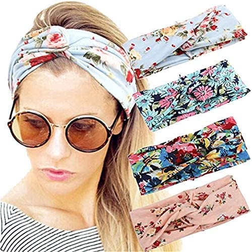 4 Pack Women's Headbands Boho Floral Style Wide Bohemian Knotted Yoga Hairband for Women Girls, Headbands Elastic Head Wrap Hair Band Accessories