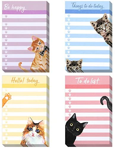 4 Pieces to Do List Notepads Funny Cat Sticky Notes Things to Do Today Reminders Notepad Daily Planner Note Card for Home Office School Cat Lover, 50 Sheets Per Piece, 4 x 6 Inch