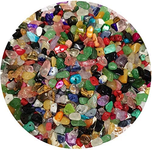 500PCS Natural Chip Stone Beads – Multicolor 3-8mm Irregular Gemstone Healing Crystal Loose Rocks Bead Hole Drilled DIY for Bracelet Necklace Earrings Jewelry Making Crafting