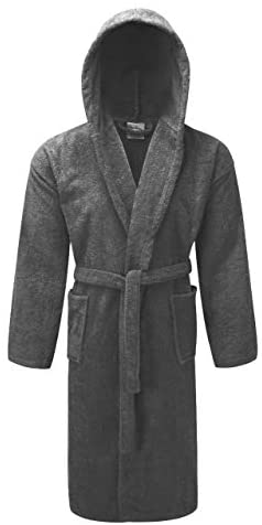 A&B Traders Mens Womens Hooded Bathrobe 100% Soft Cotton Terry Towelling Dressing Gown House Coat
