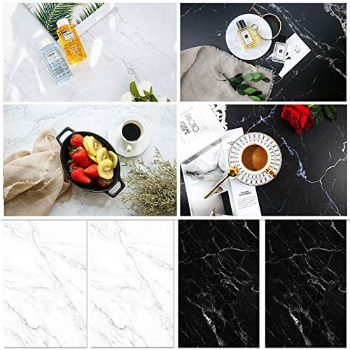 BEIYANG 2PCS 57x87cm 2 in 1 Cracked Marble Backdrop Photography Background, Double Sided White Marble Pattern Waterproof Background Paper Tabletop for Flat Lay Food Props Cake Jewelry Cosmetics Fruits
