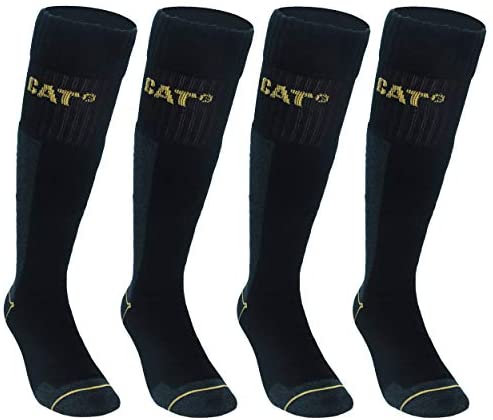 CAT CATERPILLAR 4 pairs Men's Work Long Socks Accident Prevention Reinforced on Heel and Toe with Reinforced Weft Yarn of Excellent Quality Cotton Sponge