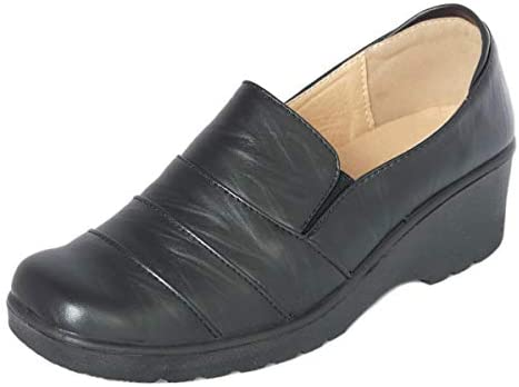 Cushion Walk Women's Ladies Lightweight Black Faux Leather Slip-on Low Wedge Shoes, Flats, Casual Work Office Comfort Shoes – Mat Black or Patent Black