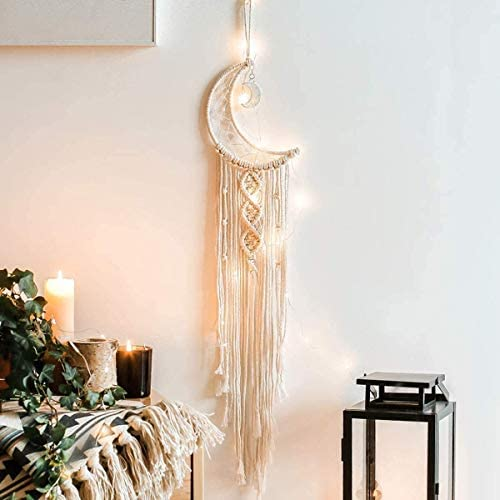 Dremisland Macrame Wall Hanging with LED Light,Moon Dream Catcher Woven Wall Tapestry Bohemian Home Decor for Kids Room Wedding Party Ornaments Craft Gifts