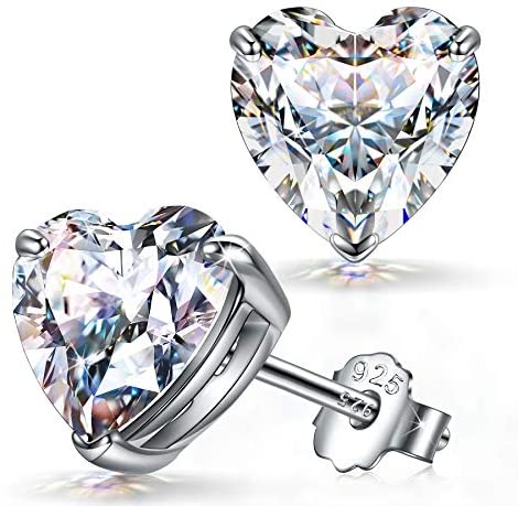 FANCI Women Earrings, Heart Shape Earrings, Gifts for Her, 925 Sterling Silver, 4MM/6MM, 0.4 Carat/1.4 Carat, Zirconia from Austria, Birthday Anniversary Wedding Party Gifts for Women Mother Girl Wife Daughter, Jewellery Box