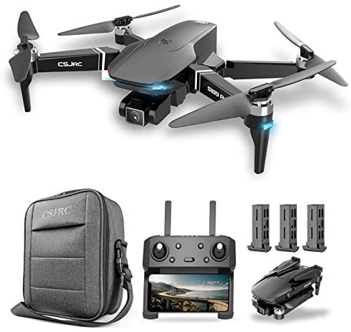 Goolsky CSJ S189 PRO GPS Drone with 4K Camera Brushless Motor Quadcopter 5G Wifi FPV Dual Camera Drone for Adults Auto Follow/Return Surround Fly 25mins Flight Time with Storage Bag