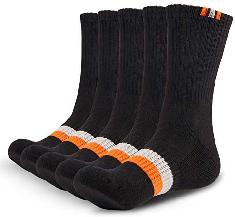 Gozlu Men's 5 Pairs Running Socks, Cushioned Anti Blister Sports Socks Trainer Socks for Outdoor Walking Hiking Trekking Cycling – Arch Support, Cotton Ventilation Channel, Size 7-12