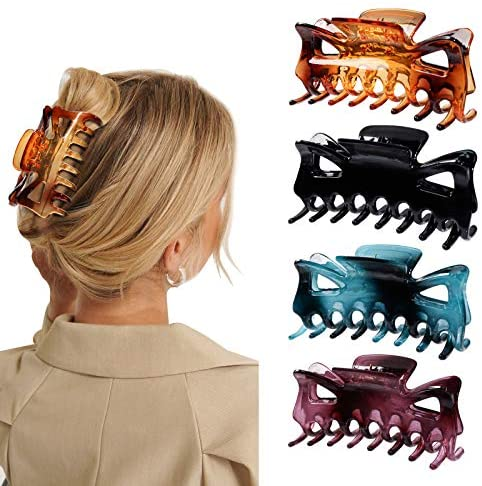 """HAYHOI Large 4PCS Hair Claw Clips, French Design Crystal Plastic Butterfly Jaw Clamp, 4.5"""" Nonslip Bow Crab Barrettes for Thick Hair, Chic Accessories for Women Girls -Black Brown Burgundy Teal"""