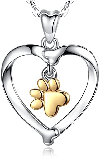 INFUSEU Dog Paw Heart Necklace, 925 Sterling Silver Golden Paw Print Jewellery Chain Sweet Pendant Labrador Gifts for Women Her Girls